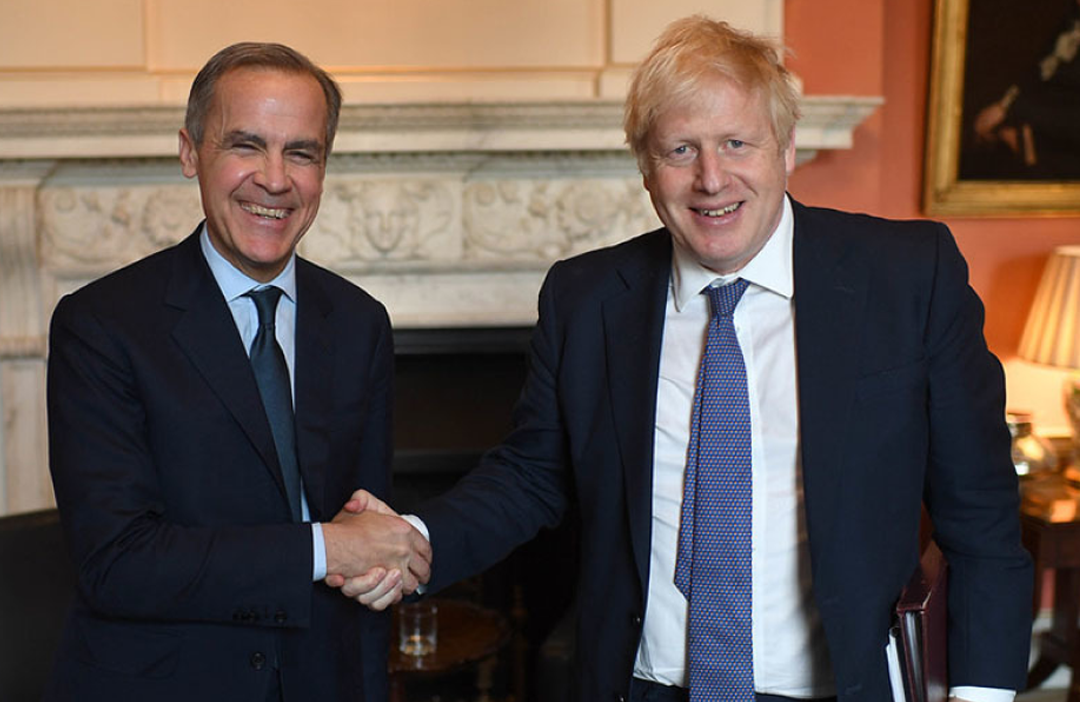 A photograph of British Prime Minister Boris Johnson and the Governor of the Bank of England, Mark Carney