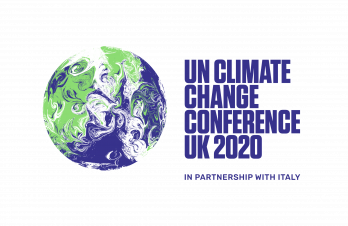 An image of the UK COP26 website logo with a picture of a globe and the following text: UN Climate Change Conference UK, which has been postponed until 2021