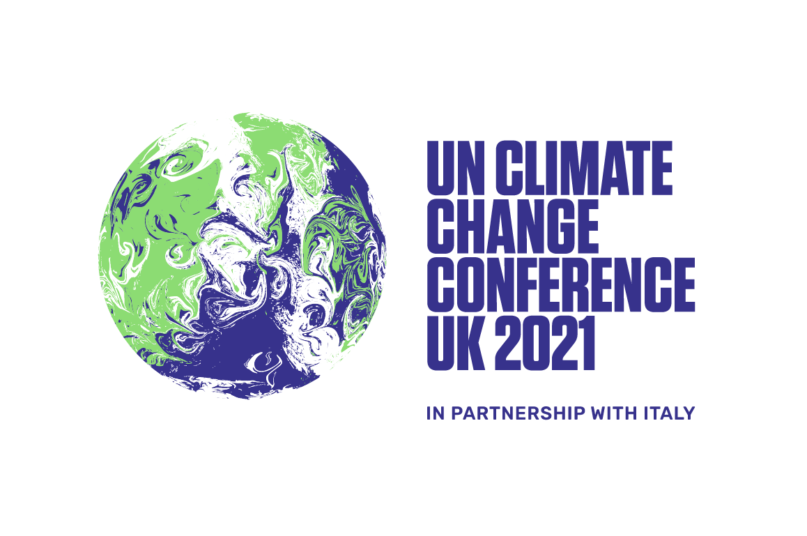 An image of a globe depicting our planet, and the following text next to it: UN Climate Change Conference UK 2021 In Partnership with Italy