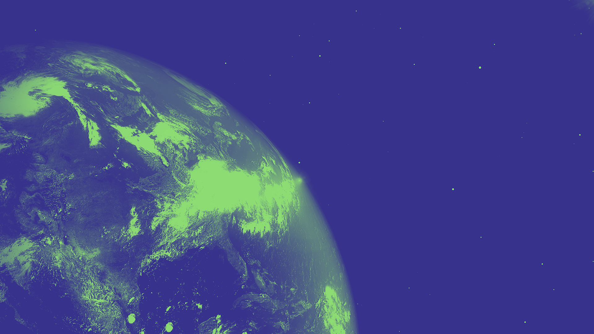 An image showing a globe floating in space, colourised in green and blue